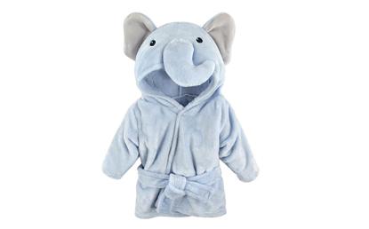Picture of HUDSON BABY UNISEX BABY PLUSH ABUNAK FACE R0BE, BLUE ELEPHANT