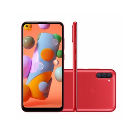 "Smartphone Samsung Galaxy A11 64GB Vermelho 4G - Octa-Core 3GB RAM 6,4"" Câm. Tripla + Selfie 8MP - Galaxy A11"